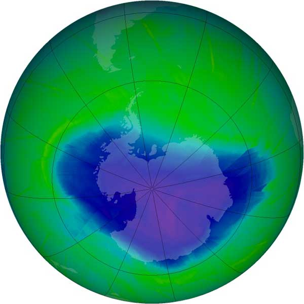 Agujero de la capa de ozono el 31 octubre de 2010