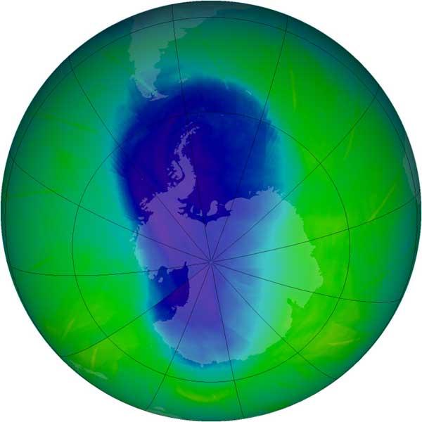Agujero de la capa de ozono en noviembre 2009