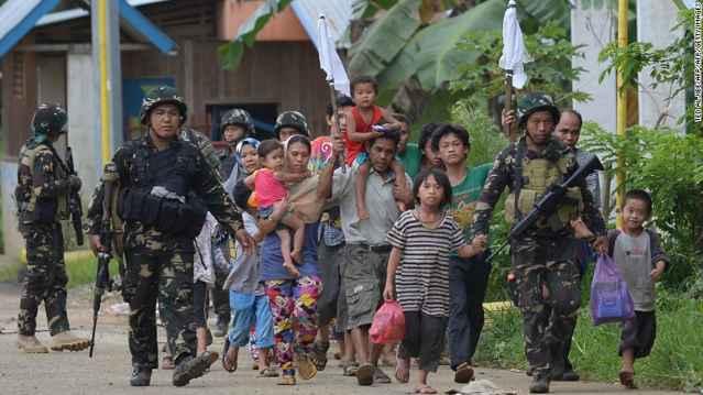 civiles evacuados de Marawi