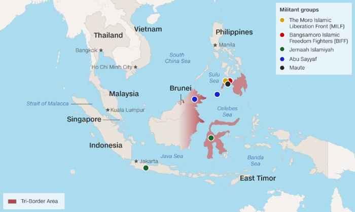 grupos militantes en el sur de Filipinas