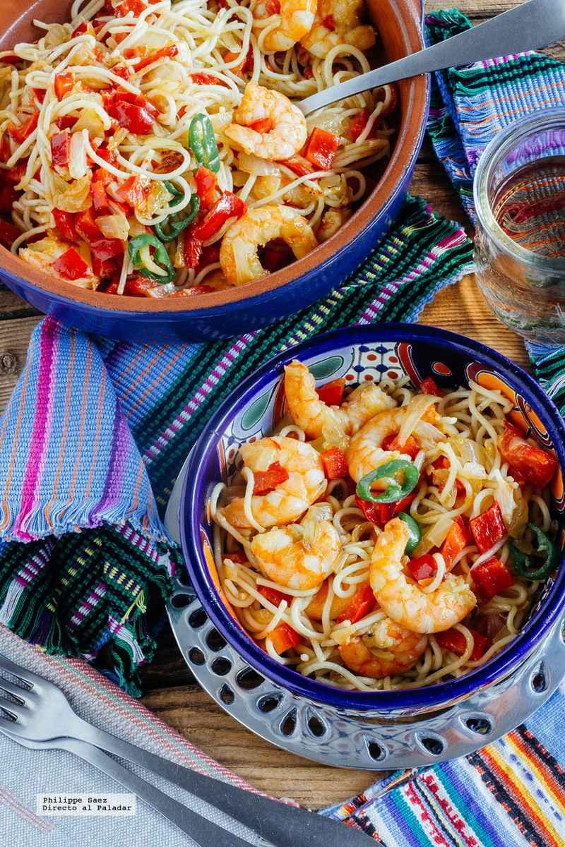 Espaguetis con langostinos a la mexicana hablame del mar - Espaguetis con chirlas ...